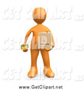 Clip Art of a 3d Orange Man Holding a Movie Ticket and a Bag of Popcorn by 3poD