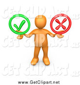 Clip Art of a 3d Orange Man Holding Check Mark and a Red X in His Hands by 3poD