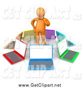 Clip Art of a 3d Orange Man in Thought, Surrounded by a Circle of Colorful Laptop Computers by 3poD