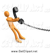 Clip Art of a 3d Orange Man Pulling a Landline Phone Receiver by 3poD
