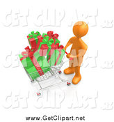 Clip Art of a 3d Orange Man Pushing a Shopping Cart Full of Christmas Gifts by 3poD