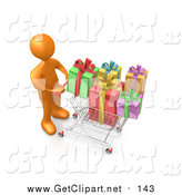 Clip Art of a 3d Orange Man Pushing a Shopping Cart Packed Full of Colorful Christmas Presents in a Store by 3poD