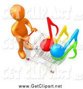 Clip Art of a 3d Orange Man Pushing a Shopping Cart with Music Notes in It by 3poD