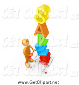 Clip Art of a 3d Orange Man Pushing a Shopping Cart with the Colorful Word SALES in the Cart, Getting Great Deals During a Store Promotion by 3poD