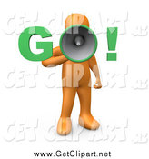 "Clip Art of a 3d Orange Man Screaming ""Go!"" Through a Loud Megaphone by 3poD"