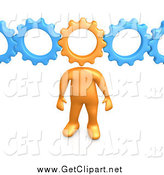 Clip Art of a 3d Orange Man with a Cog Head Connected to Blue Gears, Symbolizing Inventing and Creativity by 3poD
