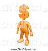 Clip Art of a 3d Orange Man with a Dollar Currency Symbol Head by 3poD