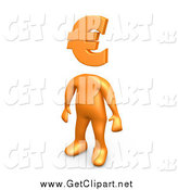 Clip Art of a 3d Orange Man with a Euro Symbol As a Head by 3poD