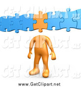 Clip Art of a 3d Orange Man with a Puzzle Piece As a Head, Connected to Blue Pieces by 3poD