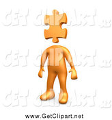 Clip Art of a 3d Orange Man with a Puzzle Piece Head by 3poD