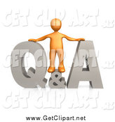 Clip Art of a 3d Orange Man with Questions and Answers by 3poD