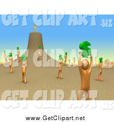 Clip Art of a 3d Orange People Holding up Dollar Signs and Carrying Them to Their Leader As if They Were Ants by 3poD