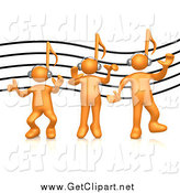 Clip Art of a 3d Orange People with Music Note Heads, over a Music Staff by 3poD