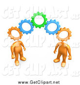 Clip Art of a 3d Orange People Working Together with Gear Heads by 3poD