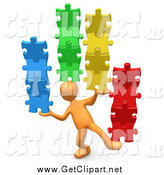 Clip Art of a 3d Orange Person Balancing Colorful Stacked Puzzle Pieces by 3poD