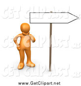 Clip Art of a 3d Orange Person Considering Changing His Direction in Life by 3poD