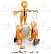 Clip Art of a 3d Orange Person Controlling Puppet Business Men by 3poD