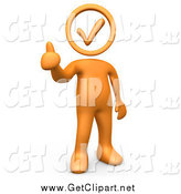 Clip Art of a 3d Orange Person Holding with a Check Mark Head, Giving the Thumbs up by 3poD