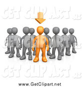 Clip Art of a 3d Orange Person Leading a Group of Gray People by 3poD