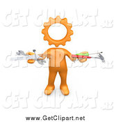Clip Art of a 3d Orange Person with a Cog Head, Holding Nails, Screwdriver, Hammer, Saw and Wrench While Repairing a Website by 3poD