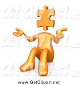 Clip Art of a 3d Orange Person with a Jigsaw Puzzle Piece Head by 3poD