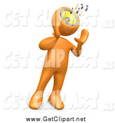 Clip Art of a 3d Orange Person wIth a Music Head by 3poD