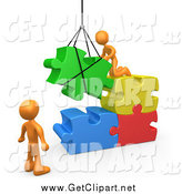 Clip Art of a 3d Orange Team Directing a Hoisted Puzzle Piece into a Space by 3poD