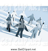 Clip Art of a 3d Paper People Holding Hands in a Circle on a Hillside by 3poD