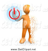 Clip Art of a 3d Pixelated Orange Man Turning the Power off by 3poD