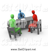 October 16th, 2014: Clip Art of a 3d Red and Green Employees Seated in Chairs While Discussing Business with a Man in an Office by 3poD
