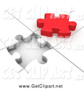 Clip Art of a 3d Red Piece over a White Jigsaw Puzzle by 3poD