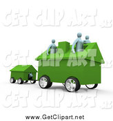 Clip Art of a 3d Relocating Family with Their Home on Wheels by 3poD