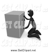 Clip Art of a 3d Robber Trying to Break in to a Safe by 3poD