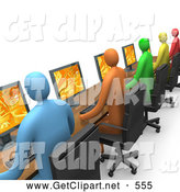 Clip Art of a 3d Row of Colorful Diverse Employees Working on Computers by 3poD