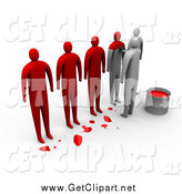 Clip Art of a 3d Row of People Being Painted Red to Become the Same by 3poD