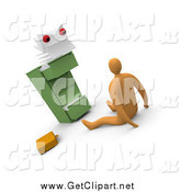 Clip Art of a 3d Scared Businessman on the Floor, Being Stared at by a Monster from a Filing Cabinet by 3poD