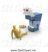 Clip Art of a 3d Scary Files Monster Emerging from a Messy Cabinet and Scaring a Businessman by 3poD