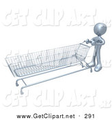 Clip Art of a 3d Silver Man Pushing a Very Long Shopping Cart in a Store by 3poD