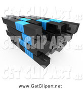 Clip Art of a 3d Stack of Black and Blue Bars by 3poD