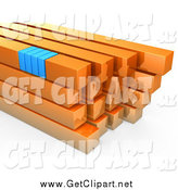 Clip Art of a 3d Stack of Orange and Blue Bars by 3poD