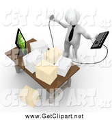 Clip Art of a 3d Stressed White Employee Staring at Stacks of Paperwork on a Desk by 3poD