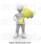 Clip Art of a 3d Successful White Man Holding a Golden Trophy After Winning the Championships by 3poD