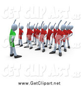 Clip Art of a 3d Teacher Showing People How to Stretch in an Aerobics Fitness Class by 3poD
