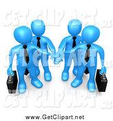 Clip Art of a 3d Team of Blue Business People Carrying Briefcases and Standing with Their Hands Piled by 3poD