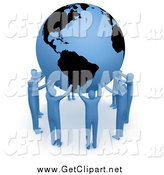Clip Art of a 3d Team of Blue People Forming a Circle Around the Earth and Holding It up High by 3poD