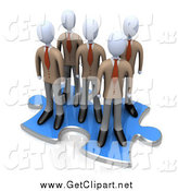 Clip Art of a 3d Team of Businessmen Standing Together on a Blue Puzzle Piece by 3poD