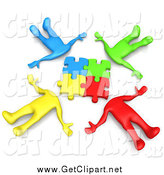 Clip Art of a 3d Team of Four Colorful Diverse People Lying in a Circle with Their Heads Connected by 3poD