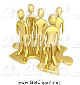 Clip Art of a 3d Team of Gold Men on a Giant Puzzle Piece by 3poD