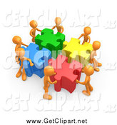 Clip Art of a 3d Team of Orange People Pushing Together Large Colorful Puzzle Pieces to Find a Solution by 3poD