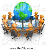 Clip Art of a 3d Team of Orange People Working on Laptops at a Round Table with a Globe in the Center by 3poD